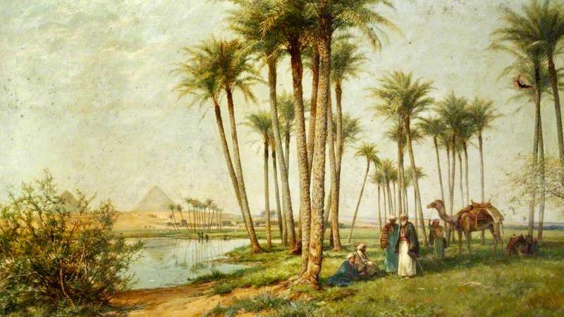 bedouin-at-an-oasis-with-pyramids-1902